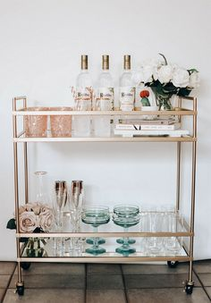 """Receive great ideas on """"gold bar cart decor"""". They are actually offered for you on our website. Bar Cart Styling, Bar Cart Decor, Ikea Bar Cart, Diy Bar Cart, Styling Tips, Dining Room Sets, Cute Dorm Rooms, Cool Rooms, Living Room Designs"""