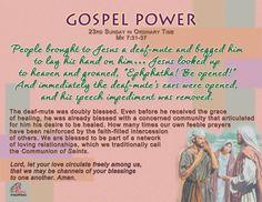 Gospel Power  – 23rd Sunday