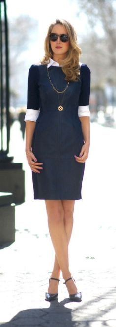 navy leather sheath dress + white oxford shirt #autumn #winter #shoppingpicks