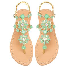 Mystique Sandals features unique hand crafted leather women's sandals that are embellished with jewelry - cheap womens costume jewelry, cheap womens costume jewelry, affordable womens jewelry Cute Sandals, Cute Shoes, Me Too Shoes, Shoes Sandals, Mint Sandals, Sock Shoes, Shoe Boots, Mystique Sandals, Fashion Shoes