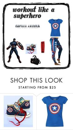 Captain America Superhero Workout by ronitaylorfit on Polyvore featuring Converse, Trimr and Mason's