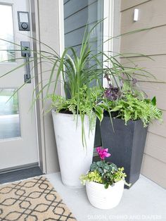Planters for Front Porch. Three Fixes that solved Our Shameful Front Porch. Black Planters for Front Porch – Spring Curb Appeal Front Porch Plantersbecki Owens Front Porch Planters, Large Planters, Front Door Plants, Porch Plants, Front Patio Ideas, Pergola Ideas, Front Porch Flowers, Potted Plants, Small Front Porches