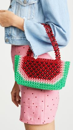 Super Cute Woven Beaded Bags by Susan Alexandra. Whimsical, colorful handmade bags to let out your inner child and add a little fun to your wardrobe! Beaded Clutch, Beaded Bags, Beaded Purses, Watermelon Bag, Summer Vacation Outfits, Wide Brimmed Hats, Bead Crochet, Dad To Be Shirts, Who What Wear