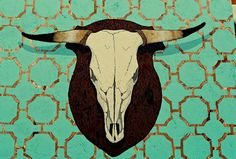 bull skull painting - Google Search