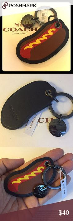 Leather Coach Hotdog Keychain NWT NWT Coach leather hotdog keychain! Even includes mustard! Steel grey hardware, including the keyring and a baseball stamped COACH! Nice gift for a female or male!  *Willing to lower price, starting high for Price Dropping Coach Accessories Key & Card Holders