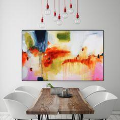 Peinture abstraite abstrait imprimé imprimé rose grande