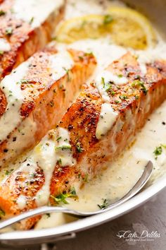 How To Cook Salmon In A Mouthwatering Garlic Butter Cream Sauce! Deliciously seasoned, pan seared salmon filets — juicy and tender on the inside with perfect crisp edges. Smothered in a gorgeous garlic butter sauce with Fish Recipes, Seafood Recipes, Cooking Recipes, Healthy Recipes, Butter Salmon, Salmon In Cream Sauce, Salmon And Scallops Recipe, Salmon Sauce, Best Salmon Recipe