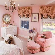 bedroom-for-girls, maybe in a different color but white furniture........ Valance instead of drapery since bed is going to block the windows for Emma's room