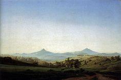 Bohemian Landscape with Mount Milleschauer (1808) by Caspar David Friedrich