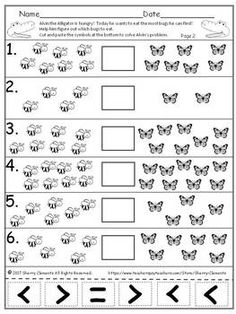 FREE DOWNLOAD : Bugs - Greater Than Less Than Equal To (Cut and Paste) Learning Multiplication Facts, Maths, Math Resources, Math Activities, Math Sheets, Kids Sheets, Comparing Numbers, Greater Than, 1st Grade Math