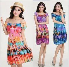 2014 New Arrival Summer Bohemian Dress Foliflora short-sleeved Beach Dress SP318