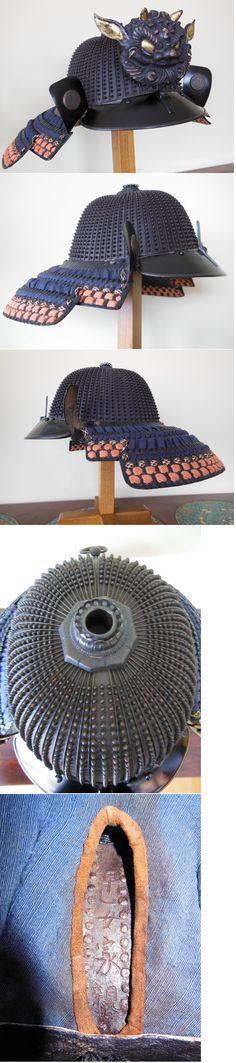 Japanese koboshi kabuto with 62 plates and 25 rivets per suji, by Saotome Iechika. Mid to end of the Edo period.