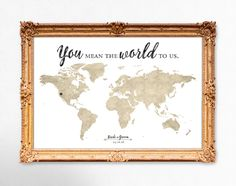World map wedding guest book - You mean the world to us - 20x30 - 24x36 - 18x24 PRINTABLE by DesignsByKhari on Etsy https://www.etsy.com/ca/listing/272636888/world-map-wedding-guest-book-you-mean