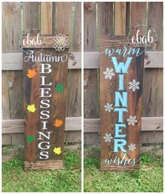 Fall/Christmas Themed Reversible Welcome Sign Approximate size: 48 tall by 14.5 wide. Use the drop down menu to pick the sign(s) you would like. **Please note I cannot promise the flower will match the picture. I will use the flower I have in stock at the time.** Love the sign, but want a different saying? Send me a message. More paint colors available upon request. ~Please note the wood may not be the exact stain color as the picture. Each piece of wood stains slightly different.~ ❤️...