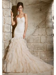 Mori Lee 5369 Tulle Fitted To The Hip Wedding Gown Ivory