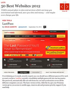 TIME has just published it's annual list of the top 50 sites and services, and we're honored that LastPass made the cut - first, no less! (Okay so it's not ordered, but we'll take it.)