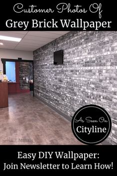 Watch this grey brick wallpaper on Cityline with Brian Gluckstein and then see it on real customer's walls! Hanging Wallpaper, How To Hang Wallpaper, Diy Wallpaper, Brick Wallpaper Black And White, Faux Brick Wallpaper, Grey Brick, Old Bricks, Retail Space, Tile Floor