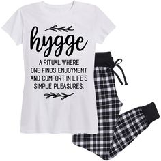 Women's Airwaves LLC Women's Cozy Flannel Jogger Sets 2X Hygge... ($30) ❤ liked on Polyvore featuring intimates, sleepwear, pajamas, lounge & sleepwear, white, flannel pjs, flannel sleepwear, short sleeve pajamas, white pajamas and flannel pajamas