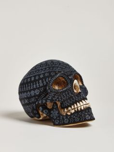 LN-CC Our Exquisite Corpse Large Beaded Skull, Huichol skull cast from resin and hand beaded on a layer of wax