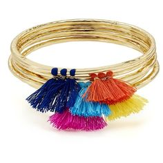 Aqua Lilith Tassel Bangles, Set of 5 - 100% Exclusive ($32) ❤ liked on Polyvore featuring jewelry, bracelets, accessories, aqua jewelry, aqua jewellery, boho chic jewelry, tassel jewelry and bohemian style jewelry