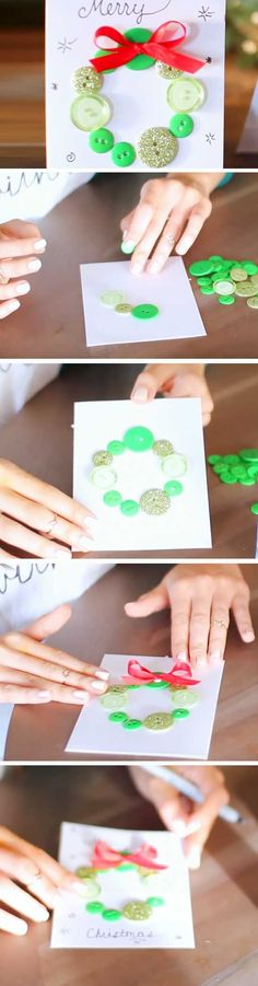 Button Wreath   20 + DIY Christmas Cards for Kids to Make