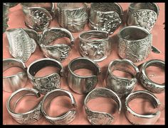 Silver fork/spoon handle cuff rings- Julie's Junktique