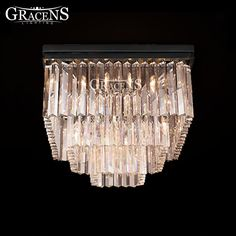 Square Crystal Chandeliers Lightings Authentic Crystal  Lamp Fixture Hanging Light Ceiling Chandelie-  Item Type: Chandeliers  Style: Modern  Finish: Iron  Voltage: 220V,90-260V,110V  Body Material: Crystal  Shade Direction: Down  Power Source: AC  Features: Modern and fashion  Shade Type: Shadeless  Base Type: E14  Model Number: MD85044  Is Dimmable: No  Brand Name: Gracens  Warranty: 3 Years  Installation Type: Semiflush Mount  Light Source: Incandescent Bulbs  Switch Type: Knob switch…