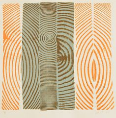 Bryan Nash Gill - Woodcuts, 2005-2011        Gill uses recycled lumber, covers it in ink and washi paper, and with his fingers and fingernails presses and scratches the pattern of the tree rings into it until the impression is completely and evenly represented.