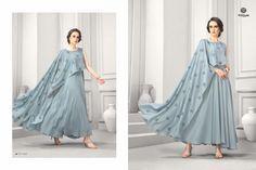 Krishriyaa maslin gown styel long kurtis online wholesaler ,Posh Catalog Wholesaler and Biggest Stockist. Long Kurtis Online, Party Wear Kurtis, Gowns, Lady, How To Wear, Style, Vestidos, Swag, Dresses