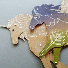 My last two paper dolls a Unicorn and a Tropical Night Horse together