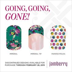 """Discontinued wraps available for purchase through February 28, 2015!! """"Imperial"""" """"Imperial Tip"""" """"Painted Polka"""""""