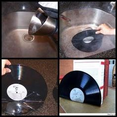 DIY vinyl record bookends or use instead & use for cd bookends! DIY vinyl record bookends or use instead & use for cd bookends! Diy Vinyl, Vinyl Art, Vinyl Record Crafts, Vinyl Crafts, Vinyl Records Decor, Vynil Records, Fun Crafts, Arts And Crafts, Book Crafts