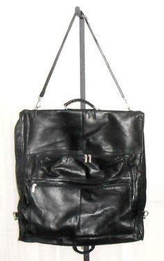 Black Leather Hanging Garment Satchel Double Handle Travel Bag