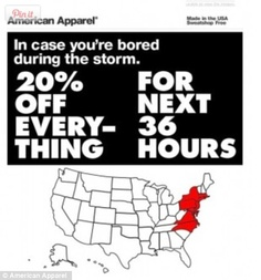 "Word to the wise: Think twice before you try to turn a natural disaster into a promotional opportunity. American Apparel crated a mock advert offering 20% off for those in states affected by Hurricane Sandy, in case they were ""bored"" by the storm. Customers quickly took to Twitter and other social networks to criticize the ad."