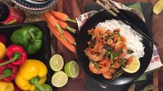 Ching's wok fried prawns and asparagus