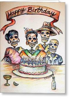 Happy Birthday Woman Skull by Heather Calderon - Happy Birthday Woman Skull Painting - Happy Birthday Woman Skull Fine Art Prints and Posters for Sale Happy Birthday Skulls, Happy Birthday Tattoo, Happy Birthday Vintage, Happy Birthday For Him, Funny Happy Birthday Pictures, Birthday Wishes Funny, Happy Birthday Quotes, Sister Birthday, Birthday Images