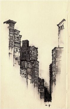 Architectural Sketches - Artist Sketches Each Lonely City He Moves To - Zachary Johnson screen and lino printing, used as a background illustration Art Sketches, Art Drawings, Sketches Of Buildings, Drawn Art, Urban Sketching, Pen Art, Love Art, Art Inspo, Amazing Art