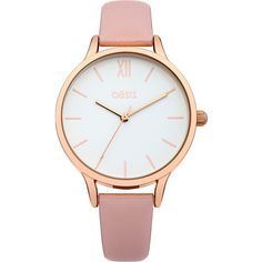 OASIS Pink Strap Watch (€51) ❤ liked on Polyvore featuring jewelry, watches, pink, pink jewelry, white dial watches, rose watches, pink watches and white face watches