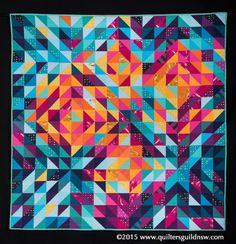 Pleiades by Jennifer Davis.  2015 Quilters' Guild NSW show (Sydney, Australia).  2nd prize traditional - machine quilted.
