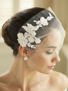 white tulle wedding veil with beaded lace applique