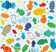 pale blue Riley Blake fish animal fabric In The Ocean
