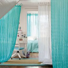 Love the idea of using a wire to hang Twisted Sheer | PBteen drapes to divide a room!