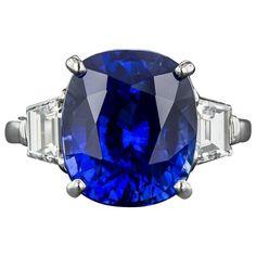 GABRIELLE'S AMAZING FANTASY CLOSET   9.48 Carat Gem Ceylon Sapphire Diamond Platinum Ring
