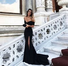 Sexy Leg Slit Long Mermaid Evening Dress, Off Shoulder Prom Gowns, Jersey Mermaid Evening Gowns, Black Prom Dresses Dance Dresses, Ball Dresses, Ball Gowns, Elegant Dresses, Pretty Dresses, Beautiful Dresses, You're Beautiful, Mermaid Evening Gown, Mermaid Dress Prom