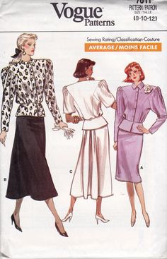 Vogue 7011 vintage sewing pattern, dated 1987  Misses Top and Skirt :  Loose-fitting, blouson top has jewel necktie, collar band or collar on band, extended shoulders, shoulder pads mock front band, princess seams, front and back pleats, lined peplum and above elbow or long sleeves. Straight skirt, below mid-knee or below mid-calf, has elastic waist and slightly flared back pleated into inset. Narrow hem.  Size 8 10 12 :  Bust 31 1/2, 32 1/2, 34 Inches Waist 24, 25, 26 1/2 inches Hip 33…