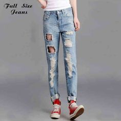(27.50$)  Watch now  - Summer Plus Size Fashion Women Ripped Holes Harem Pants Light Blue Denim Jeans Femme Distressed Broken Pantaloni Strappati S 4XL