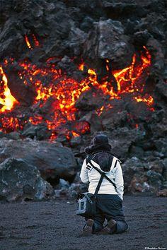 Volcano spectator, Fimmvörðuháls, south Iceland By skarpi - www.skarpi.is via Flickr