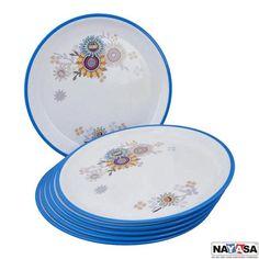 Nayasa Dinner Plates: Buy Nayasa Mf Round Full Plate Dlx Set Of 6 Pcs, Blue Online | Oyekitchen.com