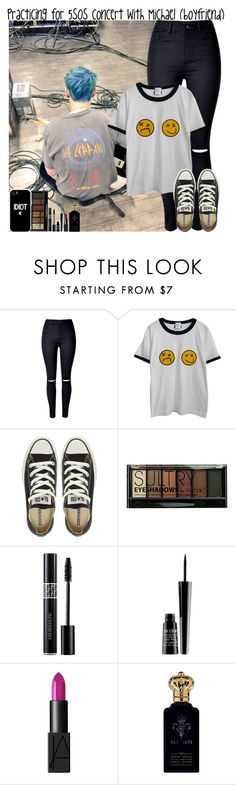 """""""Practicing for 5SOS concert with Michael (boyfriend)"""" by giovannacarlamalik ❤ liked on Polyvore featuring WithChic, Chicnova Fashion, Converse, Boohoo, Lord & Berry, NARS Cosmetics and Clive Christian"""
