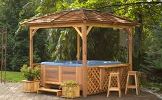 Our spa enclosures and gazebo kits are easy to assemble, and can be used many other purposes than just for Hot Tub Enclosures, or as a Gazebo. Description from a5hottubs.com. I searched for this on bing.com/images